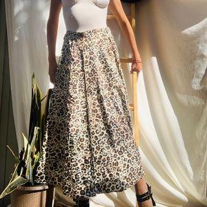 Leopard Print Long Silk Skirt